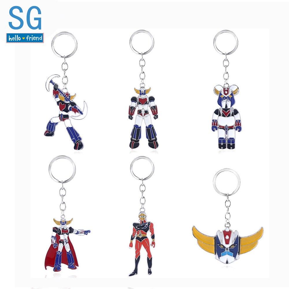 SG New Mazinger Z Metal Keychains UFO Robot Grendizer Logo Pendants Choker Car Keyring Women Boy Fans Jewelry Gift