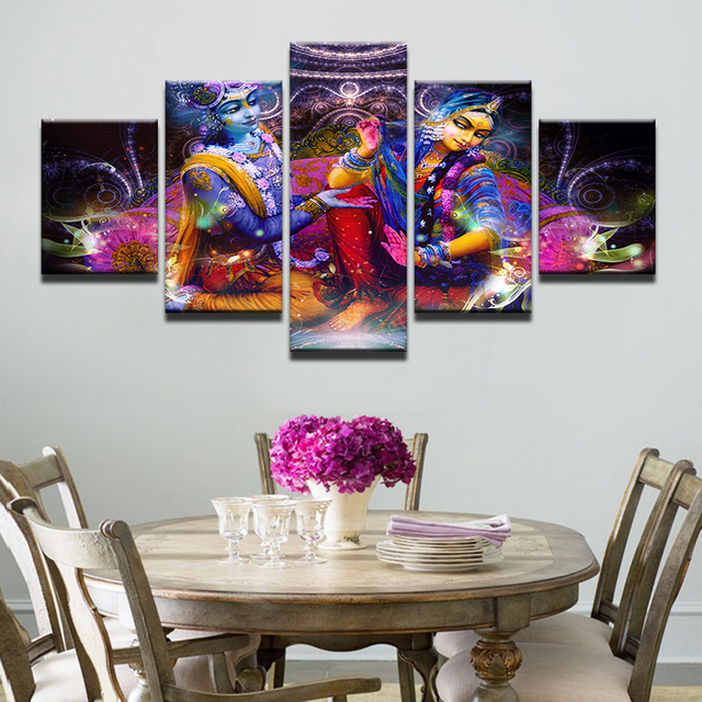wall picture printed painting modular poster panel krishna canvas