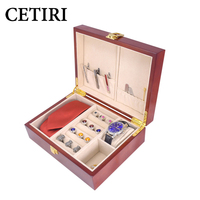 CETIRI Cufflink And Tie Clip Watch Storage Box For Men Luxury Wood Jewelry Cufflink Depot High Quality Painted Wooden Box Case