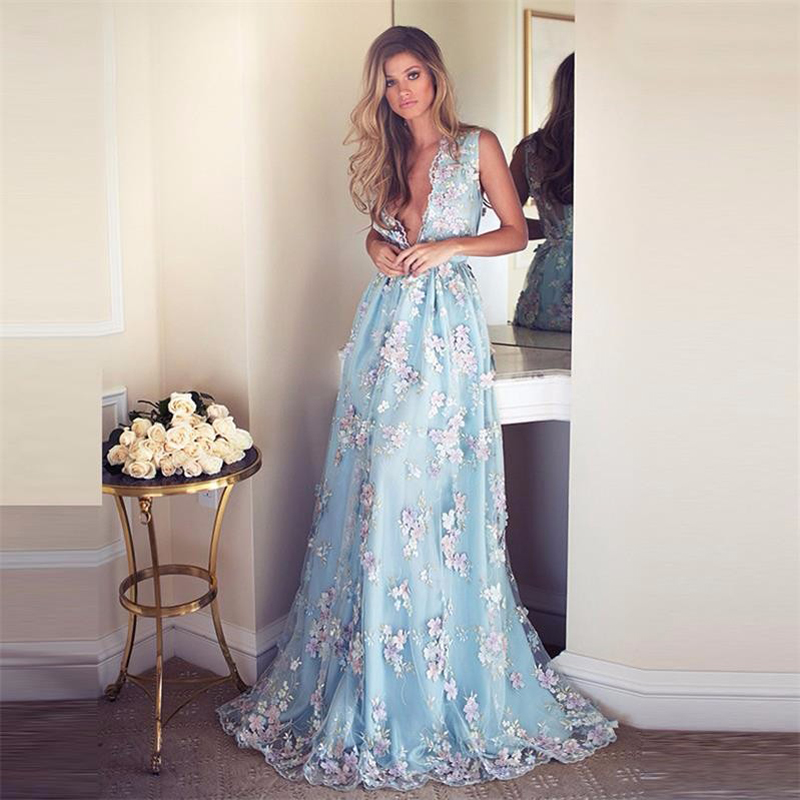 Couture Evening Gowns And Dresses: Aliexpress.com : Buy 2017 Sky Blue Embroidery Appliques