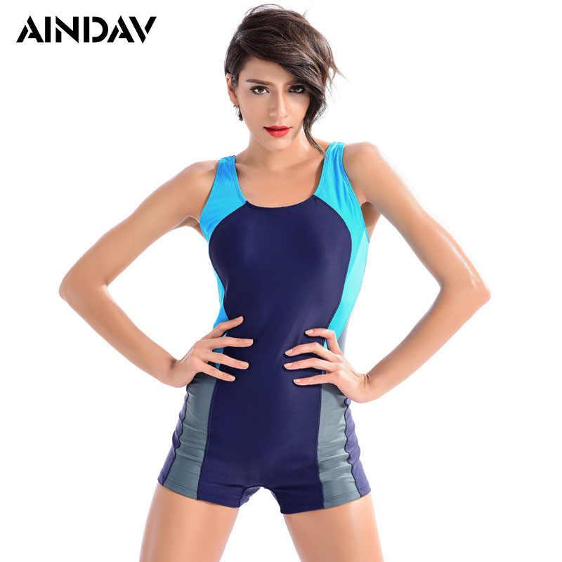 Professional Boyleg One Piece Swimsuit Sports Swimwear Women Slimming  Bodysuit Elastic Female Monokini Boxer Bathing Suit a4385a6ce