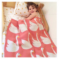chirstmas blanket Cute swan Baby Blanket  Knitted Plaid For Bed Sofa Cobertores Mantas BedSpread Bath Towels Play Mat Gift