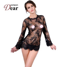 Comeondear 2017 Women Sexy Lingerie Hot Black Lace Long Sleeve Baby Doll Sexy Lingerie RB80215 Transparent Fantasias Sexy Erotic