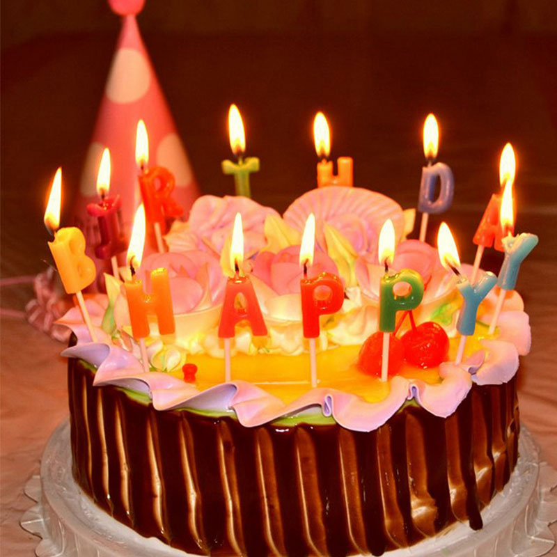 Colorful Creative Birthday Party Cake Candles English Letters HAPPY