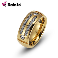 RainSo Men S Hematite Health Ring Stainless Steel Punk Rock Male Ring With Wire Cubic Zirconia