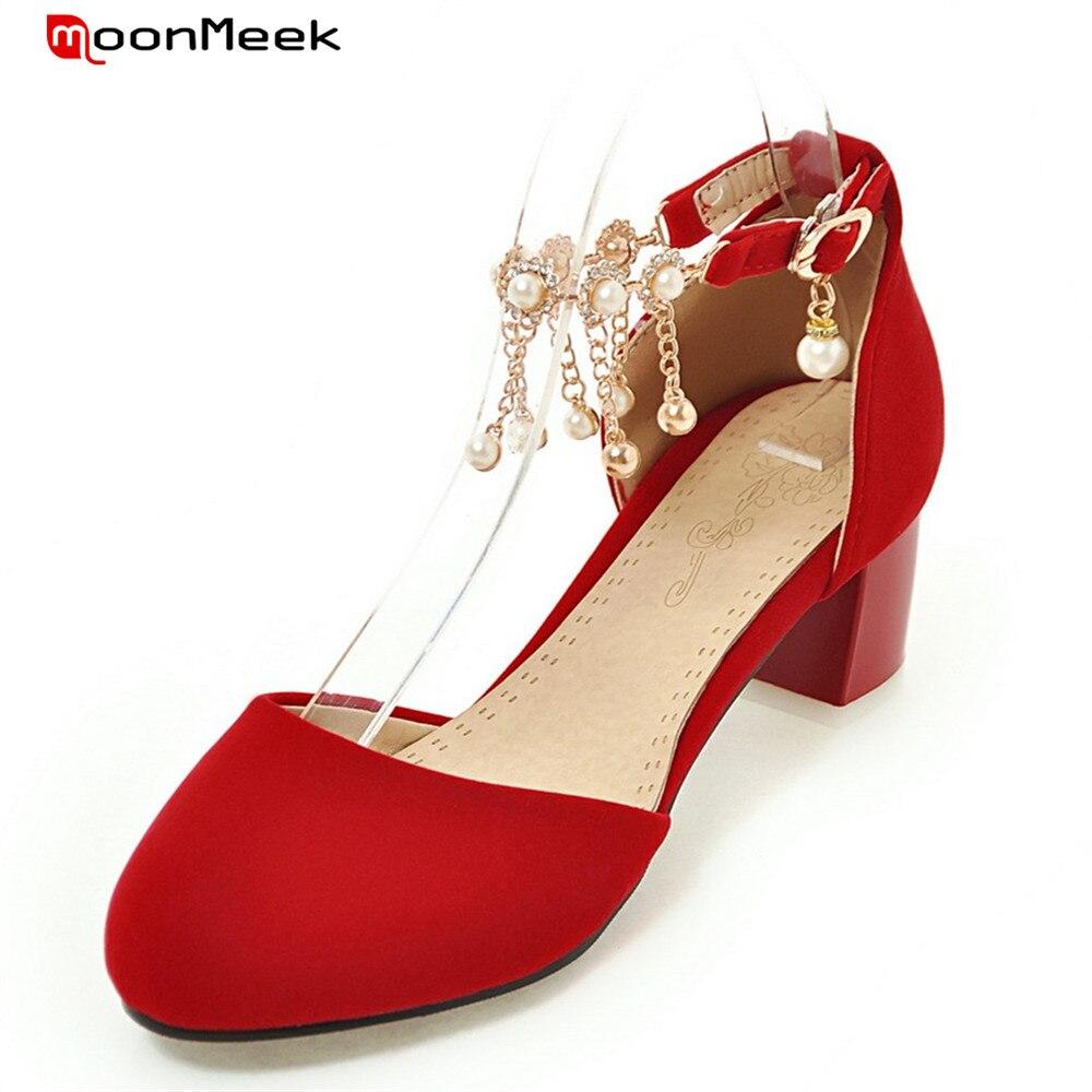 Sexy Femmes noir Avec Moonmeek Chaussures 2018 Apricot Haute Élégantes Chaude Talons Bout rouge Carré Rond Mode Boucle Talon Simple Pompes Xw4x4tfq