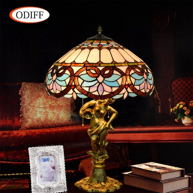 Eusolis 16 Inch Mosaic Crystal Table Lamp Stained Glass Vintage Led