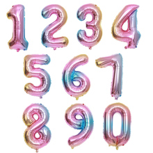 1 2 3 5 6 7 8  pink Gradient 32inch number Foil digital helium ballon birthday party lettre folie adult globos unicornio