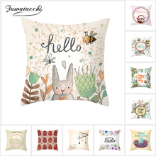 Fuwatacchi 2019 New Easter Pillow Case Sofa Bed Home Decoration Festival Eggs Rabbits Cushion Cover 45*45