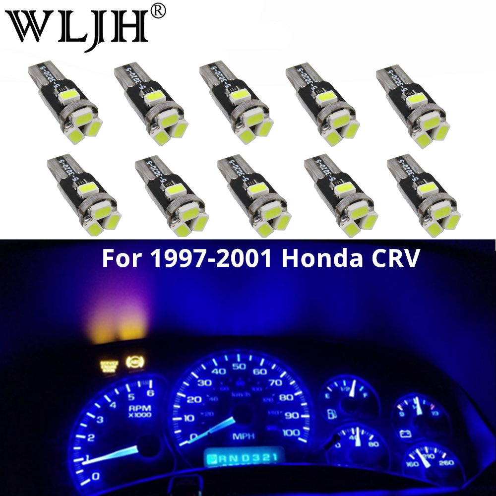 WLJH 10x T5 Led 7 Colors Car Light 85 74 37 73 286 Wedge Dashboard Instrument Gauge Dash Light Bulb For <font><b>1997</b></font> 1998-<font><b>2001</b></font> <font><b>Honda</b></font> CRV image