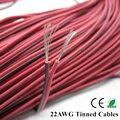 20 m 22AWG cabo, cabo 2pin cobre Estanhado Vermelho preto cabo de extensão de fio Para LED Strip 5050/3528, PVC isolado fio elétrico freeship