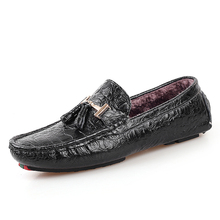 mens true cow winter loafers have fur inner crocodile grain style man warm office loafers gents career plush inside drive shoes
