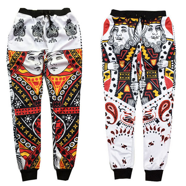 2017 New emoji joggers pants Playing cards print 3D sweatpants men women hip hop joggers pants