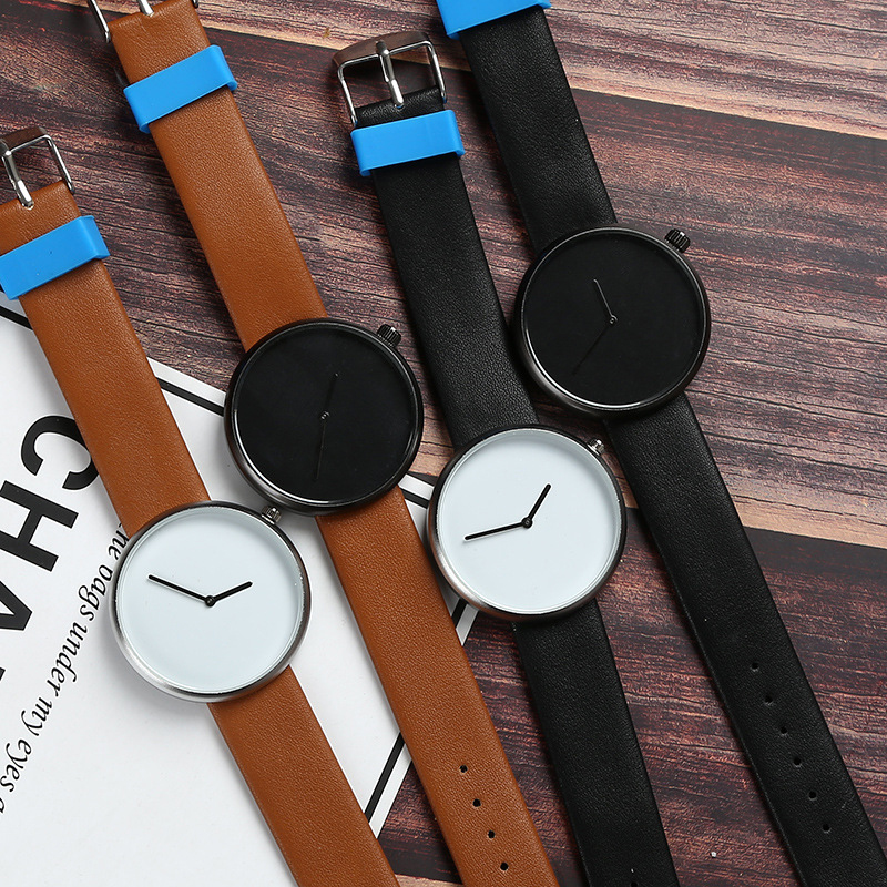 New Arrival Minimalist Style Wild Fashion Watches Men Women Sport Casual Quartz Wristwatch Soft Leather Strap Neutral Watch Gift