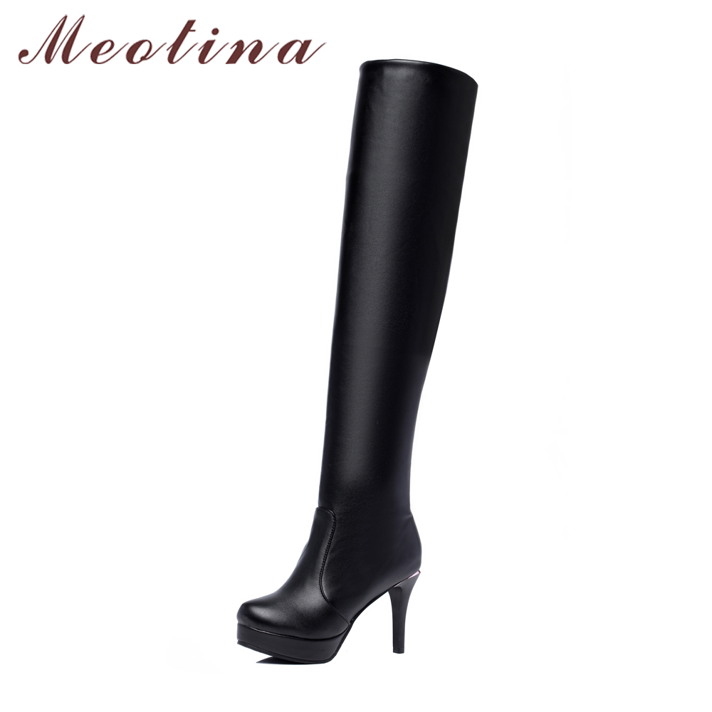 Meotina Women Thigh High Boots Over The Knee Boots Platform High Heel Shoes Round Toe Slip On Sexy Long Boots Black botas mujer nayiduyun women genuine leather wedge high heel pumps platform creepers round toe slip on casual shoes boots wedge sneakers