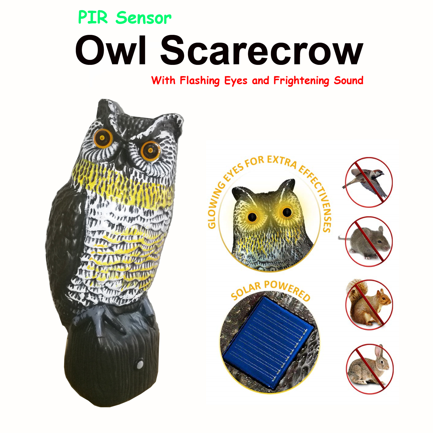 Solar Powered Bird Repellent Owl Scarecrow With Flashing Eyes And Frightening Sound -PIR Activated Garden Animal Pest Repeller