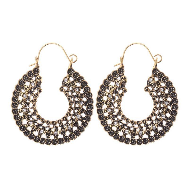 Fou Feng femmes Vintage boucles d'oreilles 2018 ethnique creux fleur gitane boucles d'oreilles indien bijoux Trible boucle d'oreille accessoires 11