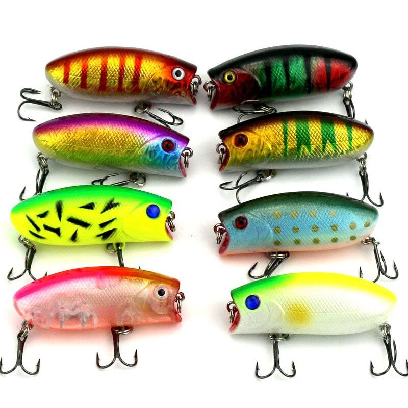 Cheapest fishing lure Plastic Bionic Artificial Bait 10.41g 6.01cm 3D eyes 8# Hook 8pcslot Ocean Fishing brand