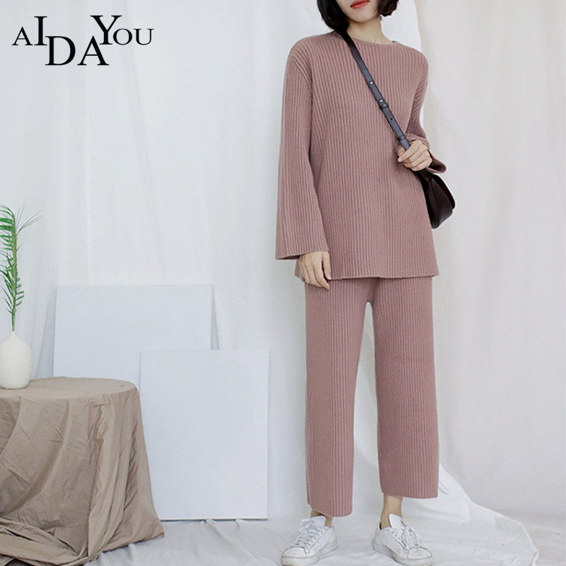 2018 NEW Women Sets spring autumn fashion 2 pieces sets knitted sweater and pants loose casual comfortable lady Sets ouc2625