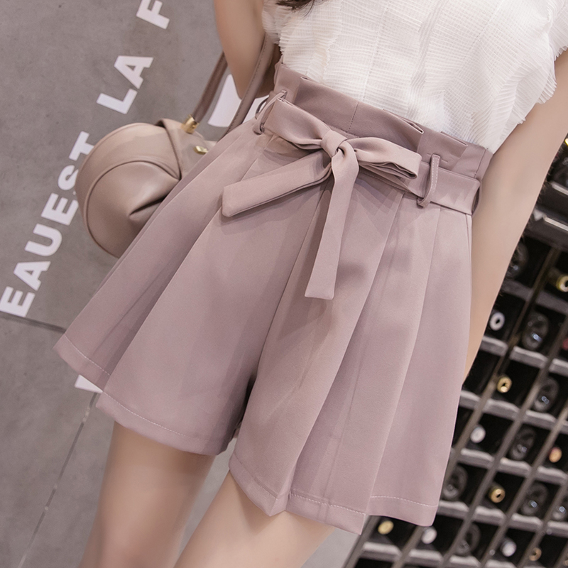 2019 New Korean Lace-Up Bowknot High Waist Shorts Womens Cute Pleated Wide Leg Shorts Summer Casual Loose Shorts