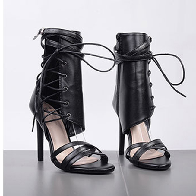 Sexy Gladiator Women Pumps High Heels Peep Toe Lace up Cross-tie High Heels Women Thin Heel Party Shoes Boussac top selling 2017 summer sexy women solid black open toe cross lace up gladiator cuts out thin heels high heel sandals party shoe