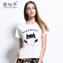 Lotus fairy women's T-shirt wih character round neck summer top Tee plus size cotton shirt cheap clothes china fashion T-shirt
