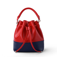 Quality Lady Panelled Bucket Women Simple Fashion Genuine Leather Crossbody Messenger Bags Girls Single Shoulder Handbag