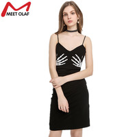 Sexy Spaghetti Strap Dress Summer Halloween Party Dresses Funny Skeleton Hands Print Spandex Dress Fashion Clubwear