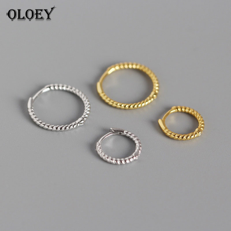 YPAY Genuine 925 Sterling Silver Circle Hoop Earrings for Women Simple INS Geometric Twisted Brinco Korean Fine Jewelry YME469