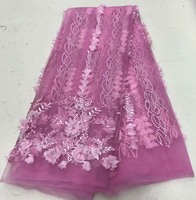 2018 Latest Wine Tulle Lace Fabric High Quality African Lace Fabric With Beads lace material For bridal lace Ribbon