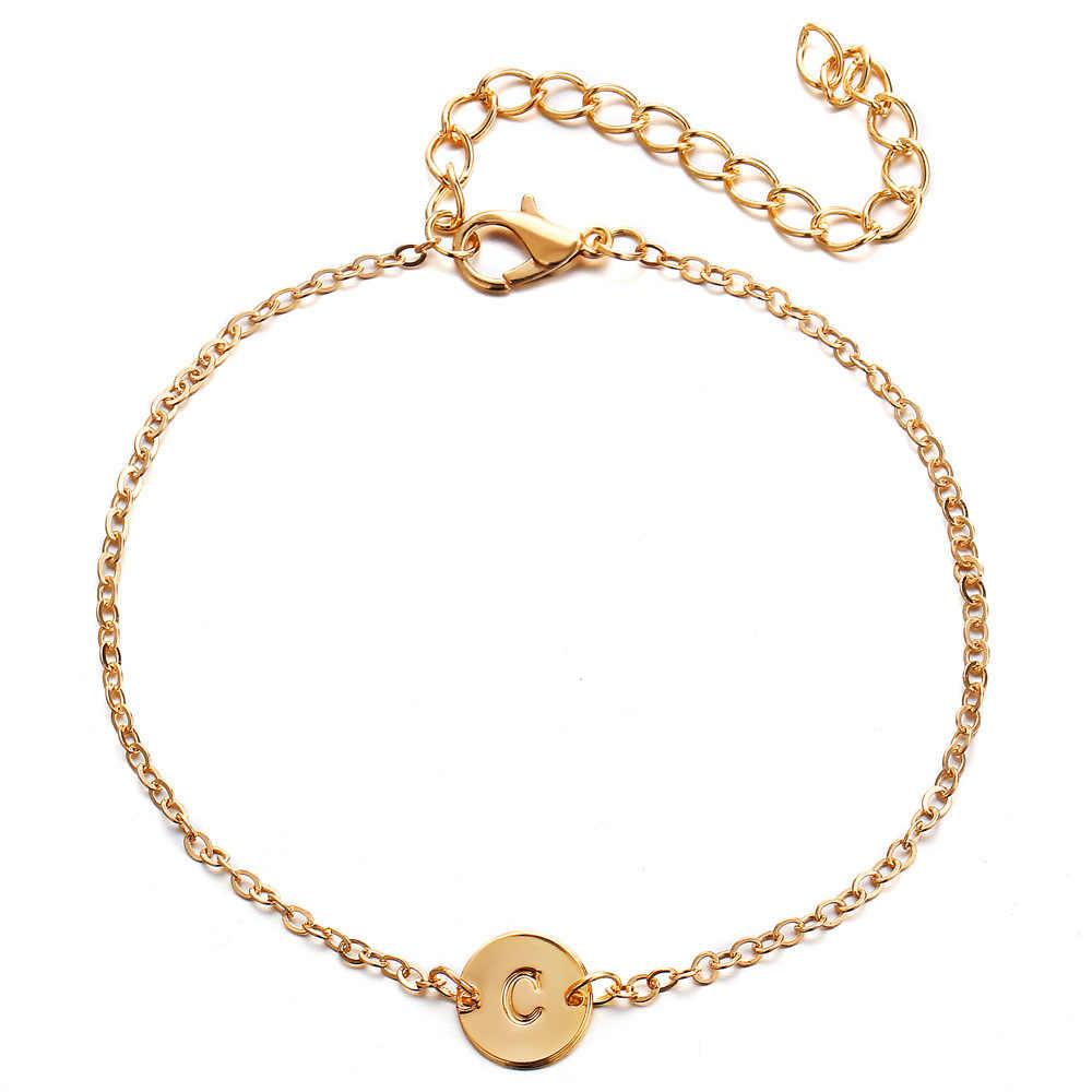 Moda złoty kolor 26 bransoletka z literami i bransoletka dla kobiet proste regulowane nazwa bransoletki Pulseras Mujer biżuteria Party prezent