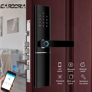 Image 2 - Akıllı elektronik kilit parmak izi kapı kilidi güvenlik akıllı kilit biyometrik Wifi kapı kilidi Bluetooth APP kilidini