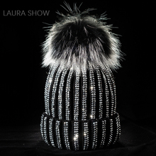 LAURASHOW Real Fur Ball PomPoms Winter Warm Knitted Wool Hat Lady Mink Women Cap