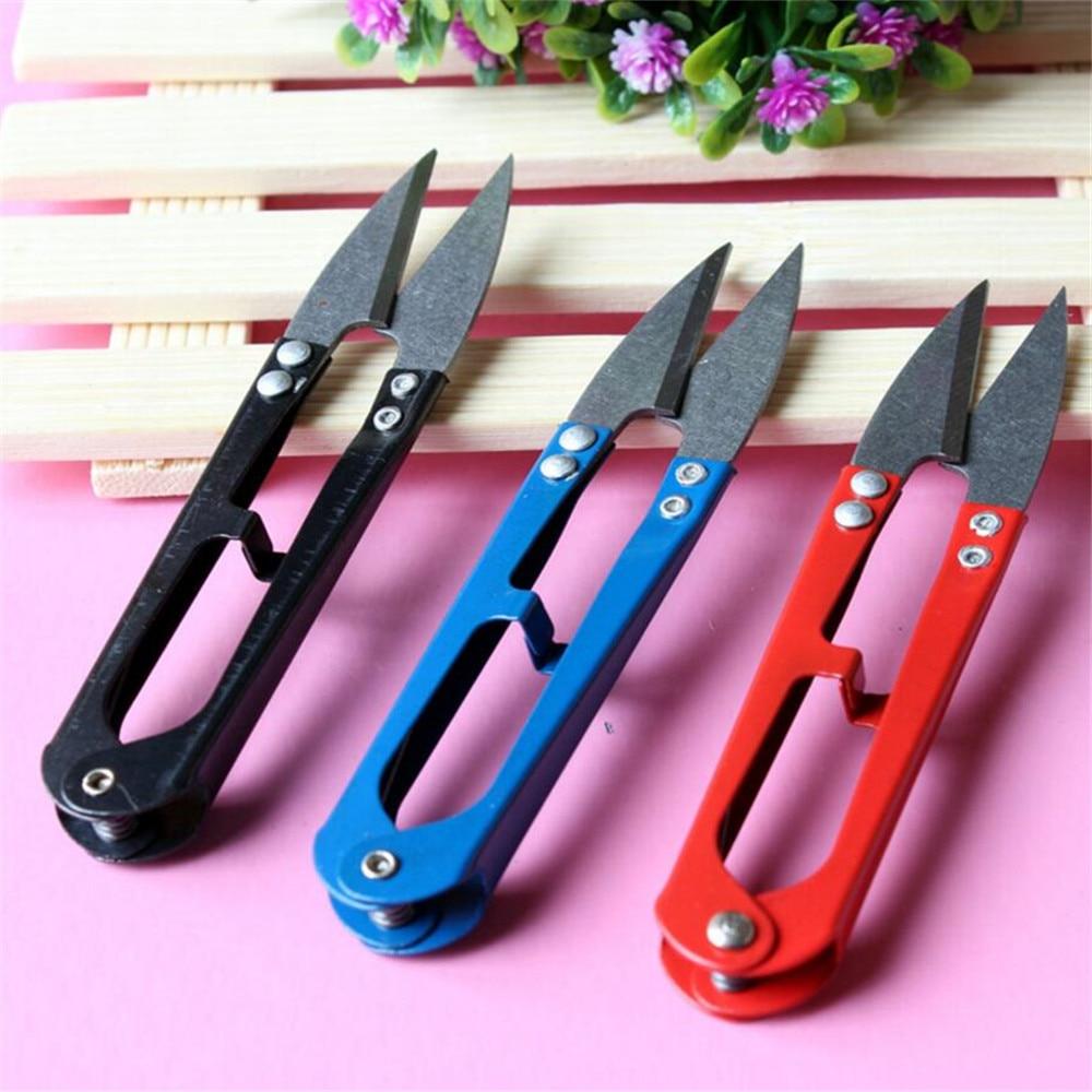 1 Pcs U-shaped Mini Scissors For Fishing Sewing Scissors Nippers Fish Use Scissors Fishing Line Cutter Tools Random Color FA49
