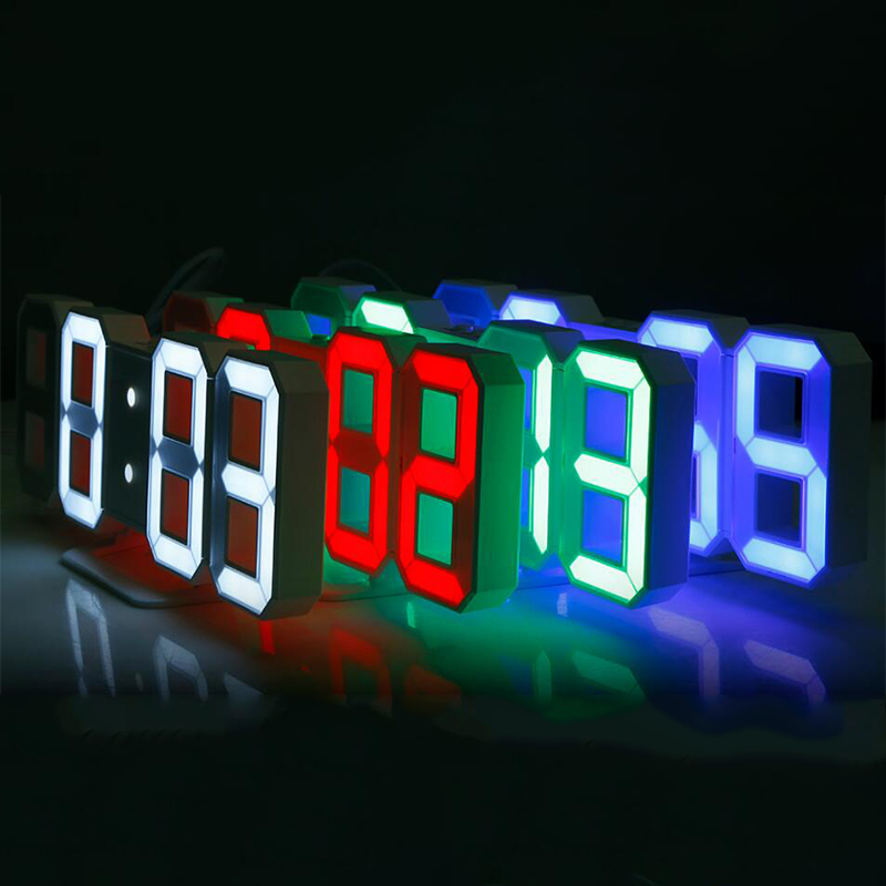 3D LED Digital Wall Clocks 24 / 12 Hours Display 3 Brightness Levels Dimmable Nightlight Snooze Function for Home Kitchen Office