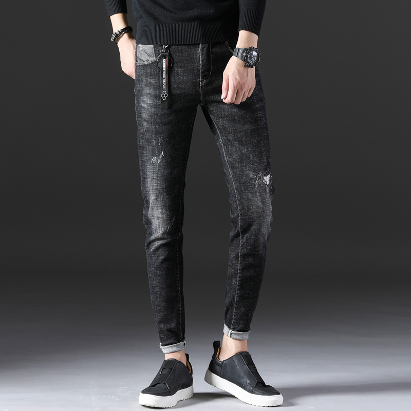 Mens Jeans Stretch Summer Lightweight Thin Jeans Fashion Slim Straight Denim Trousers Pants for Male Casual Biker Jeans AA11423