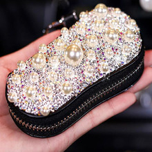 Top Cow Crystal Diamond Car Key Case Keychain Coin Purse Decoration Ladies Holder Organizer Auto Cover Accessories