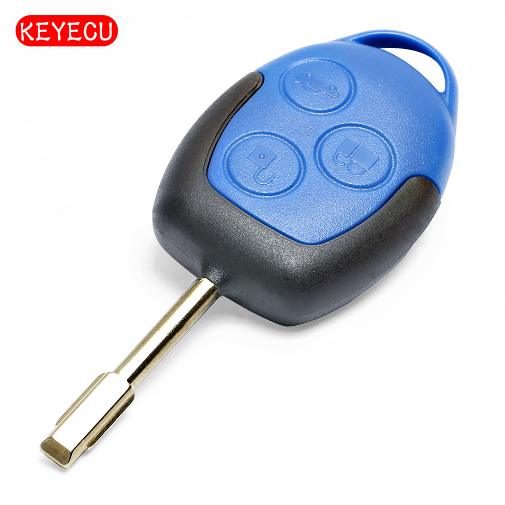 Keyecu Remote Key 3 Button Fob 433Mhz With Chip 4D63 for Ford Transit 2004-2010 Fo21 Blade smart remote key fob keyless 434 mhz 4d63 80bit remote key with emergency key fit for ford focus c max mondeo kuga fiesta b max