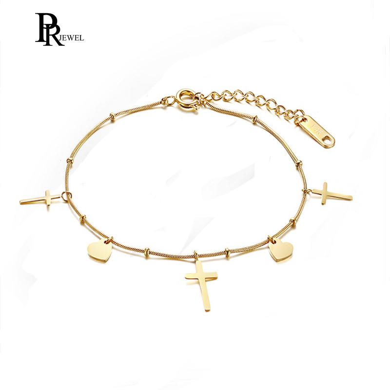 Trendy Heart Cross Charm Bracelets for Women Jewelry Gift Love Wedding Banquet Femme Girl Ladies Gift