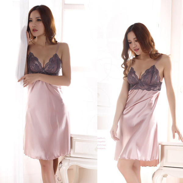 Nightgowns & Sleepshirts Imported From Abroad New Style Women Faux Silk Braces Dress Girls Lace Sleepwear Nightgown Sexy Casual Dress Jx0169