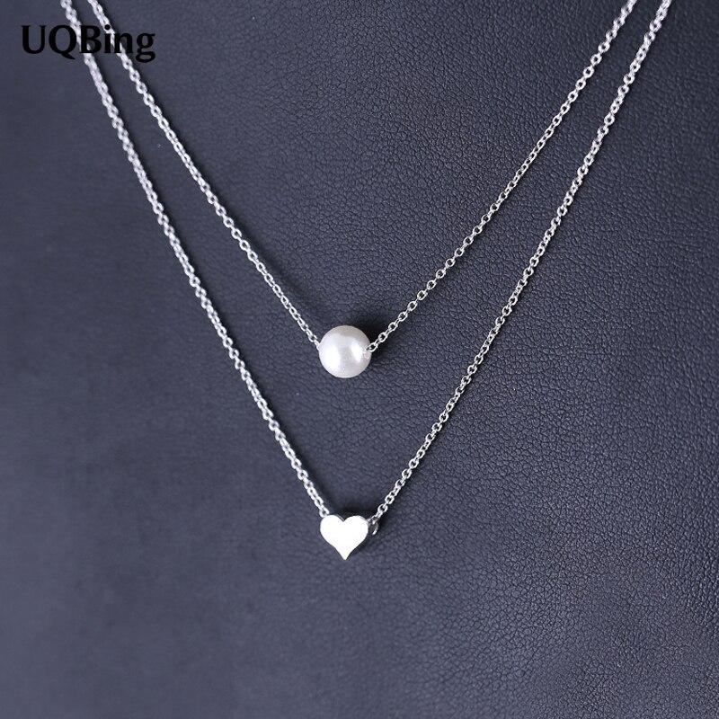 2016 Drop Verschiffen 925 Silber Doppel Kette Halsketten Perle Mit Herz Anhänger & Halsketten Schmuck Kragen Colar De Plata