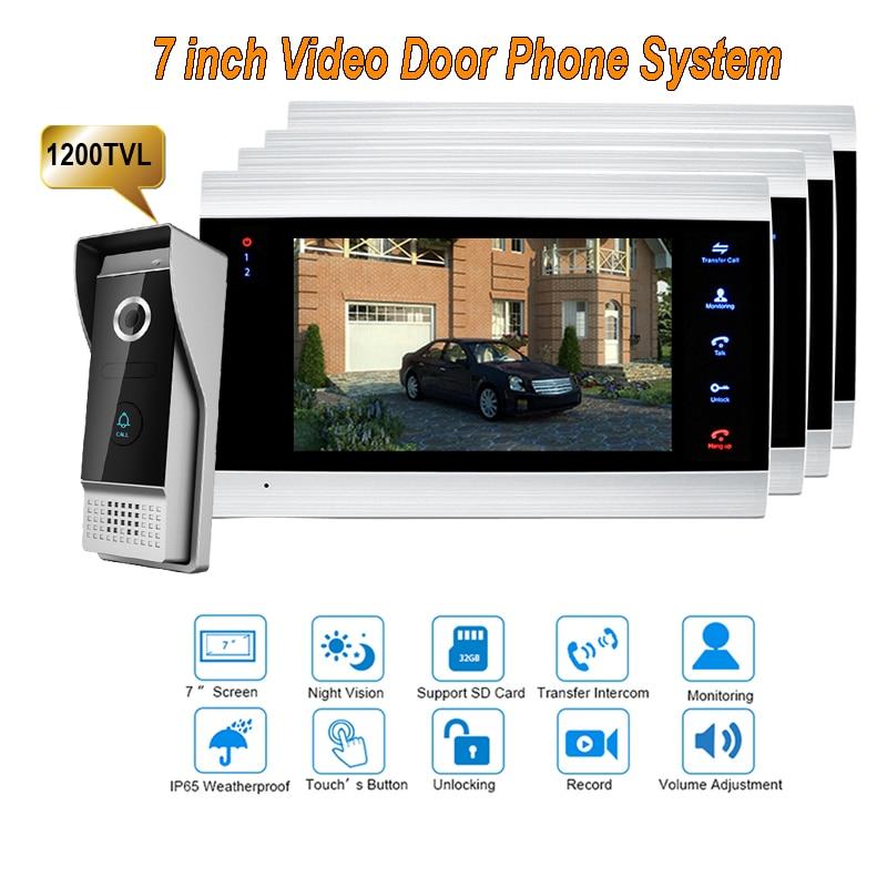 New 7 Inch 1200TVL Video Intercom System Door Phone Doorbell With  IP65 Wide Angle 110 Degree Camera DoorPhone 1V4