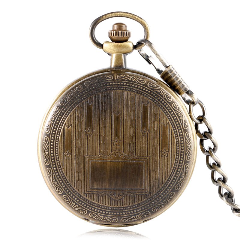 Bronze Mechanical Pocket Watch Hand Wind Board Plank Pattern Retro Vintage Antique Style Wind Up Pendant Fob Chain For Men Women antique style luxury vintage gold mechanical hand winding pocket watch pendant with fob chain for mens womens reloj de bolsillo