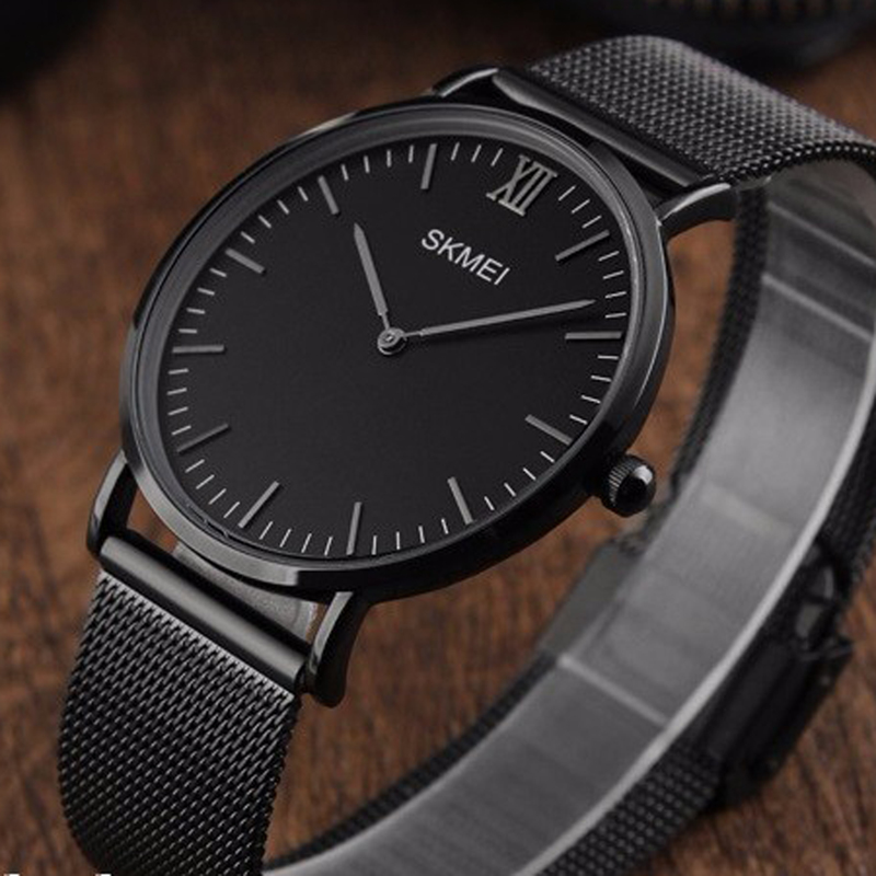 SKMEI Top Luxury Brand Watch Men Ultra Thin Stainless Steel Mesh Band Men's Watches Quartz Wristwatch Fashion casual watches skmei luxury brand stainless steel strap analog display date moon phase men s quartz watch casual watch waterproof men watches