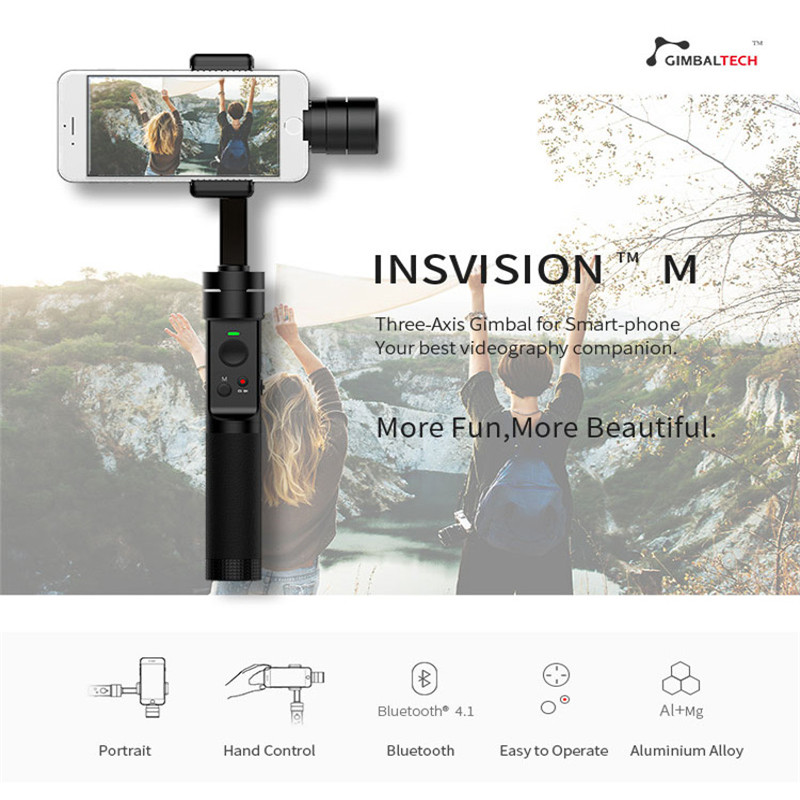 Insvision M 3-Axis Handheld Gimbal Stadilizer for 4.5-5.5 Inch Smartphones For iphone Android Selfie FPV Racing Camera Drone yuneec q500 typhoon quadcopter handheld cgo steadygrip gimbal black