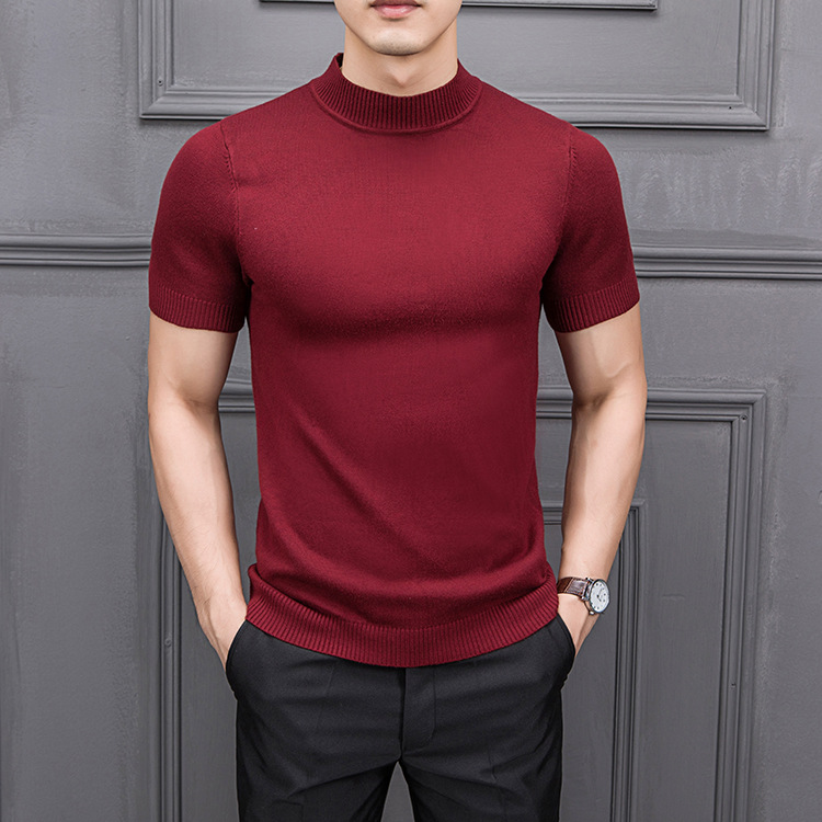MRMT 2019 Brand New Autumn Men's T Shirtpure Color Semi-high Collar Knitting  For Male Half-sleeved Sweater Tops