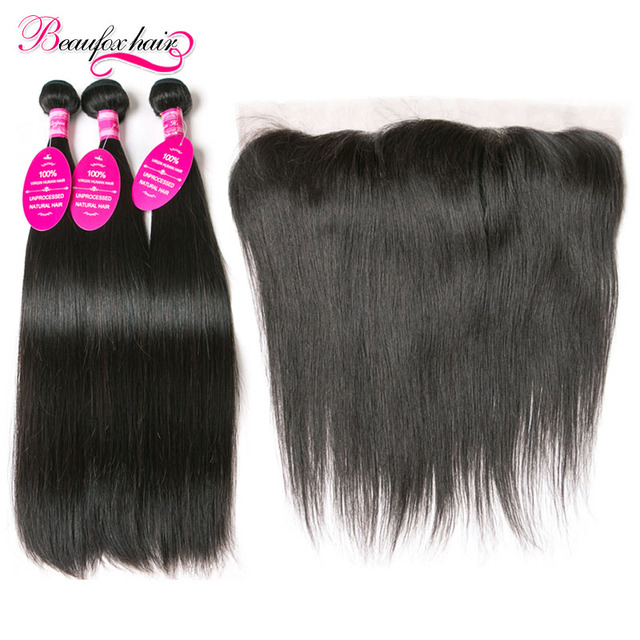 Brazilian Straight Hair With Frontal 7A Straight Virgin Hair 3 Bundles With Frontal Closure Brazilian Virgin Hair With Closure