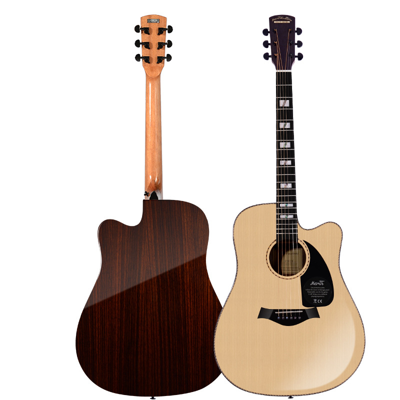 Solid Spruce Top Rosewood Back and Sides Rosewood Fingerboard Acoustic Guitar 40 Inch Folk Guitarra Free Shipping with Case high quality solid wood guitar 41 inch spruce wood panel acoustic guitar guitarra free shipping