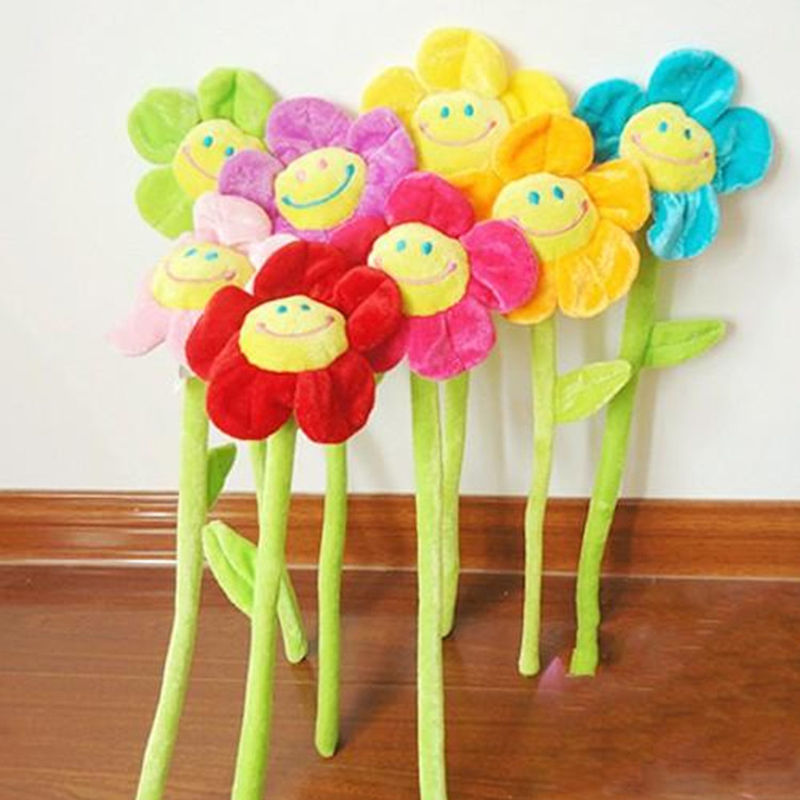 33cm Cartoon sunflower flowers, curtain flower, flower plush toys, children's gift, wedding gifts Wholesale
