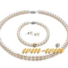 Комплект ювелирных изделий из натурального пресноводного жемчуга белого цвета, 7-8 мм жемчужное ожерелье/браслет/серьги, Модный свадебный комплект ювелирных изделий